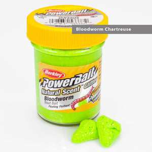Powerbait Natural Scent Trout Bait Glitter Bloodworm Chartreuse