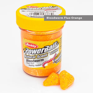 Powerbait Natural Scent Trout Bait Glitter Bloodworm Fluo Orange