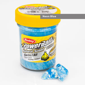 Powerbait Natural Scent Trout Bait Glitter Garlic Neon Blue