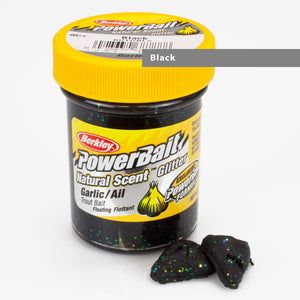 Powerbait Natural Scent Trout Bait Glitter Garlic Black