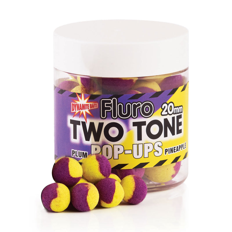 Plum- Pineapple Fluro Two Tone Pop- Up Boilies 20mm