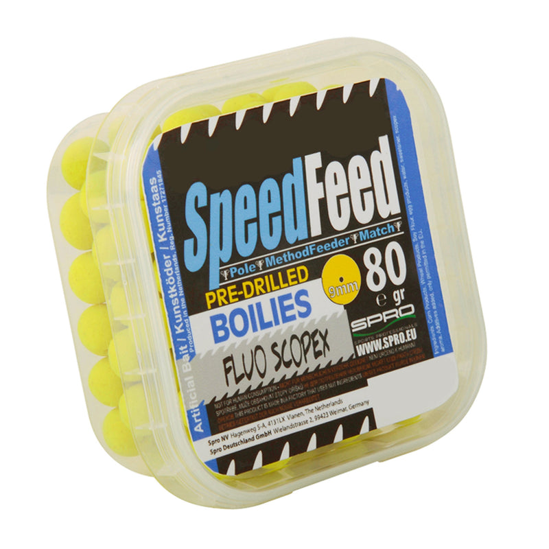 SpeedFeed Pre- Drilled Boilies 9mm Fluo Scopex