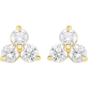 Diamond Three-Stone Earrings