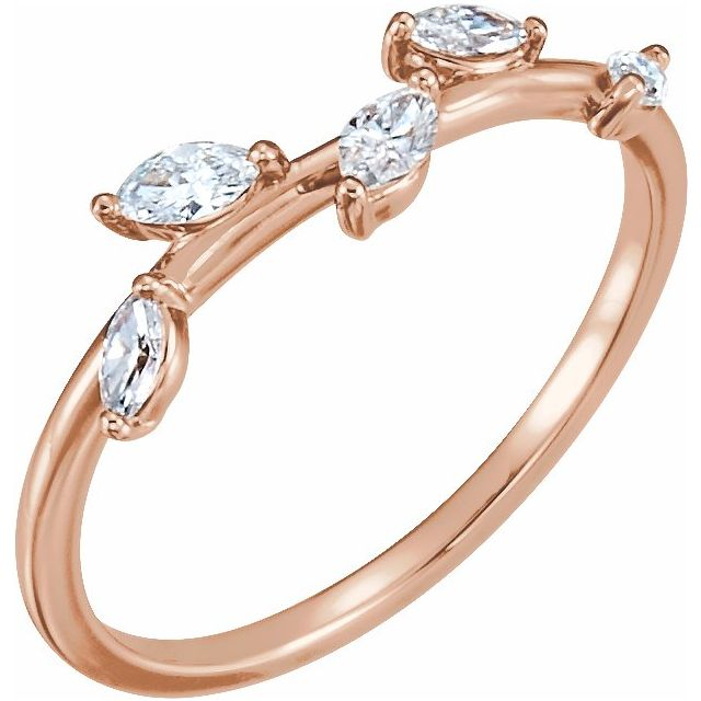 Marquise leaf diamonds rose gold ring