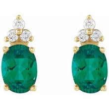 Load image into Gallery viewer, emerald diamond earrings