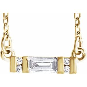 Baguette cut diamond minimal necklace