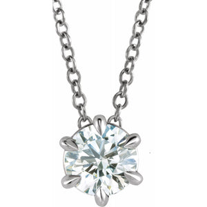 "Diamond 6-prongs Solitaire 16-18"" Necklace"