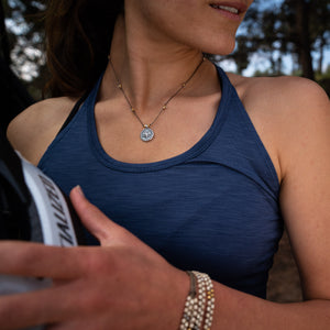 Active Possibilites necklace by Bronwen Jewelry can run, swim or do yoga with you, all while adding elegance to your look.