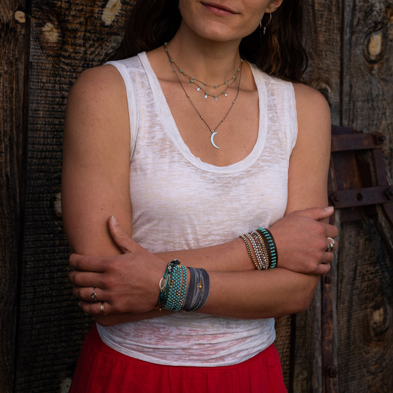 Isis mixed metal necklaces are water worthy, durable and a Bronwen Jewelry favorite. Active jewelry for an active lifestyle.
