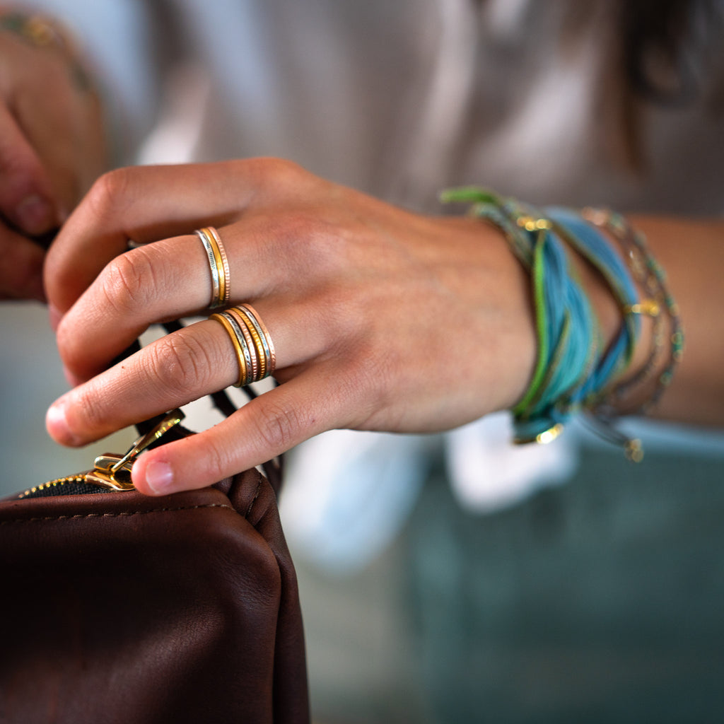 Toltec set of six rings are sleek and durable, these are a Bronwen Jewelry staple for travel and everyday adventure