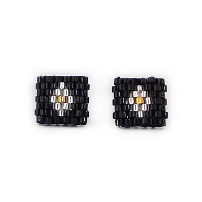 Beaded Aurelia Post Earrings - Black