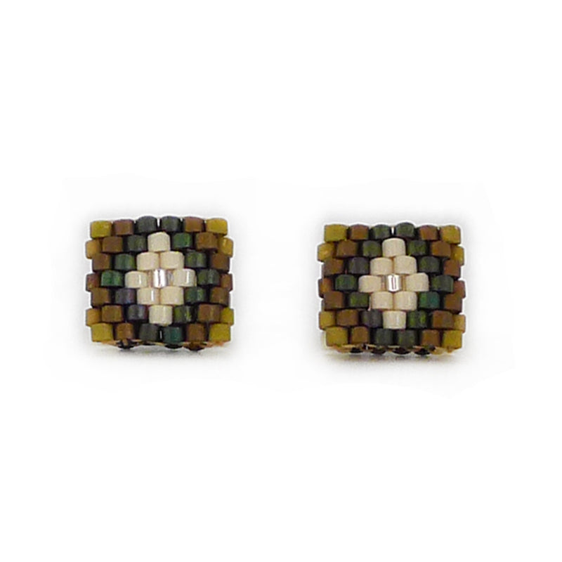 Beaded Aurelia Post Earrings - Nopal