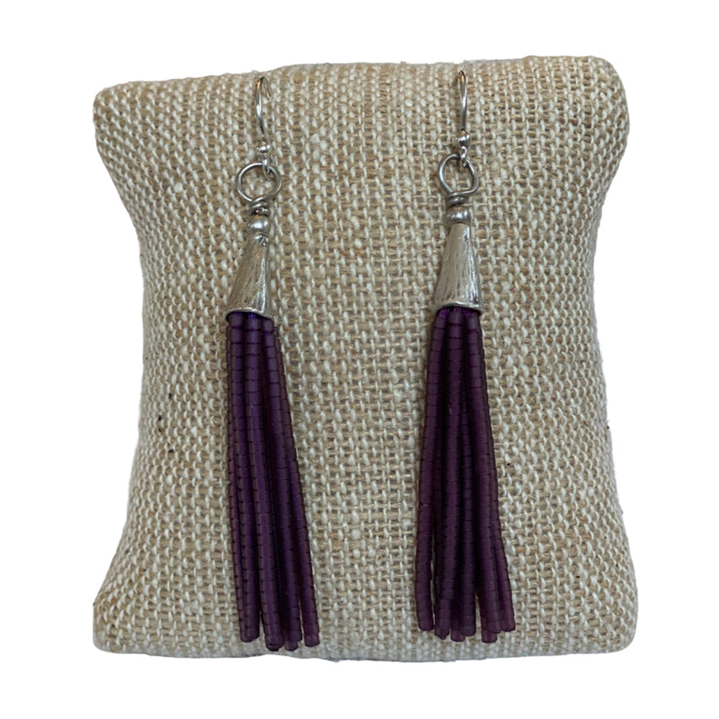Beaded Tassel Earrings - Eggplant