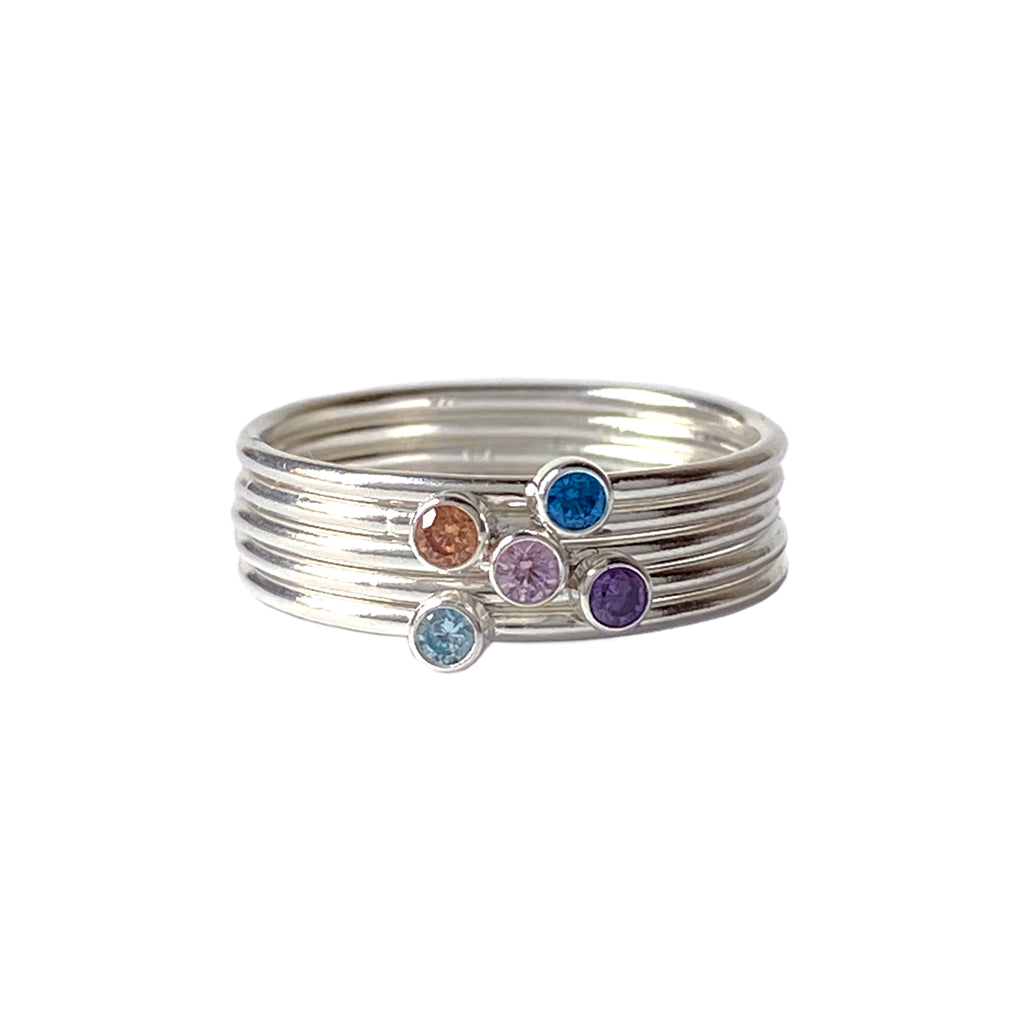 Stacking Birthstone Rings - Silver