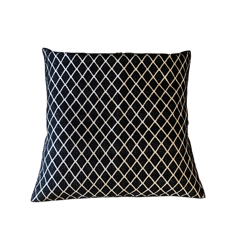 Chiapas Embroidered Cotton Pillow - Black Diamond 20""