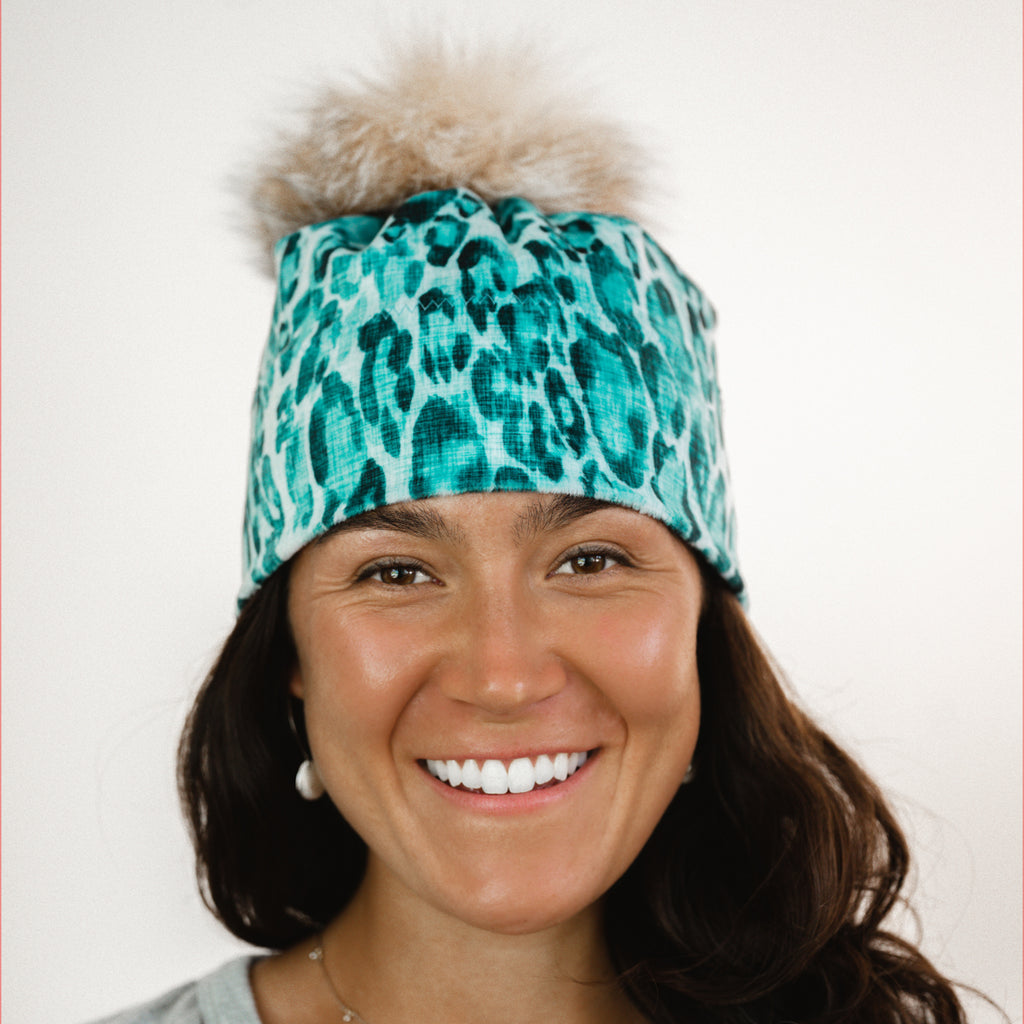 Pom Pom Hat - Electric Leopard