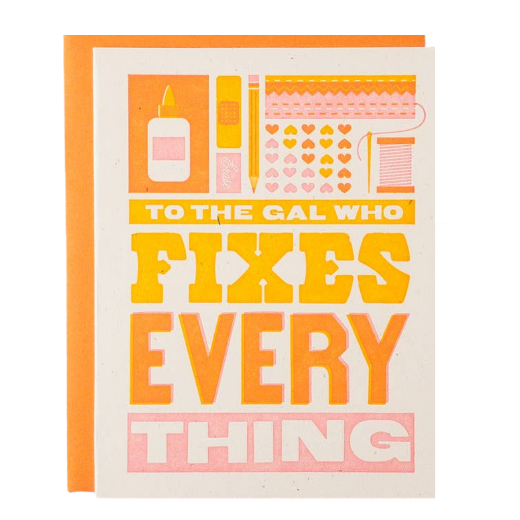 Gal Who Fixes Everything Letterpress Card