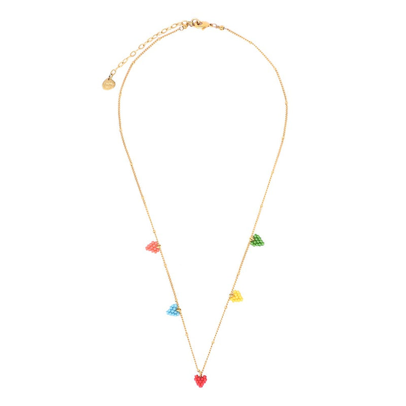 Hearts Chain Necklace - Rainbow