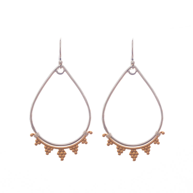 Henna mixed metal earrings are bold and beautiful just like you. Artisan made in the USA, a Bronwen Jewelry favorite