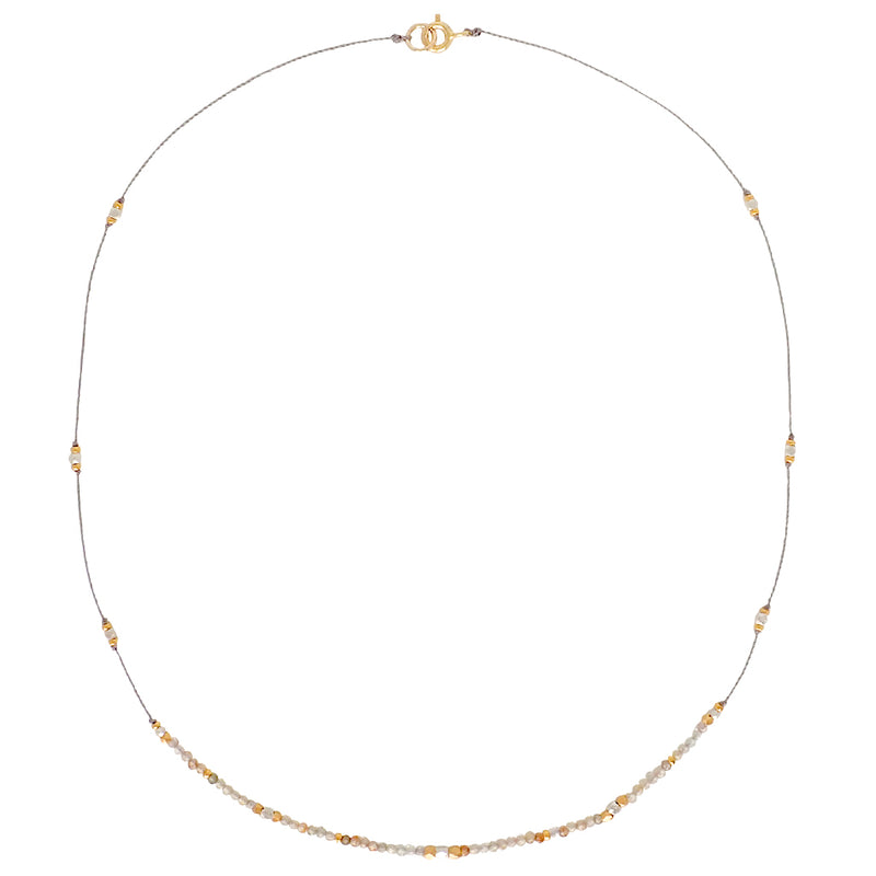 Journey necklaces are elegant and easy with tiny gemstones and mixed metals. Durable, delicate, decidedly Bronwen Jewelry.