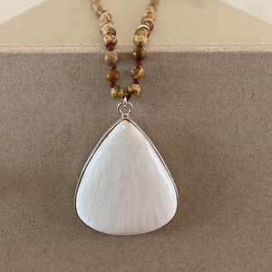 Gemstone Pendant Necklace - Scolecite