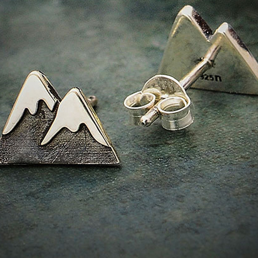 Tiny Charm Post Earrings - Mountain Girl