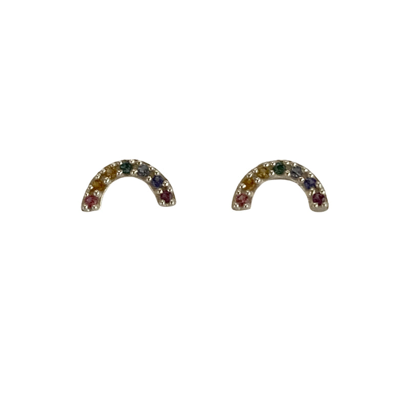 Tiny Charm Post Earrings - Rainbow