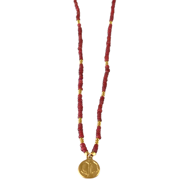 Red Heart Beaded Necklace - Buddha's Feet