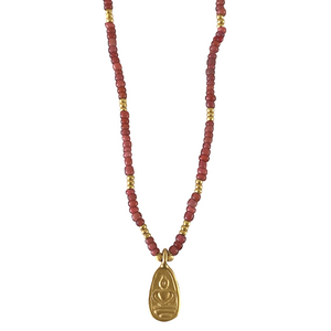 Red Heart Beaded Necklace - Seated Buddha