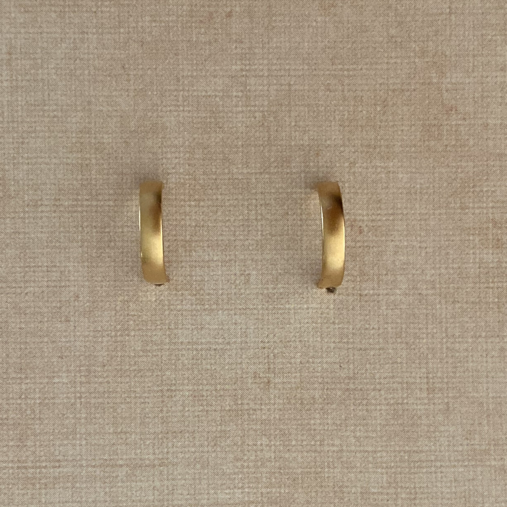 Satin Simple Hoop Post Earrings