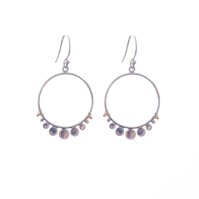 Serenity earrings are a new Bronwen Jewelry favorite. In silver with a touch of gold, this earring jazzes up every outfit