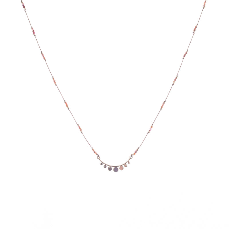Our Serenity gemstone necklace is delicate and durable, a Bronwen Jewelry pick for everyday active-chic