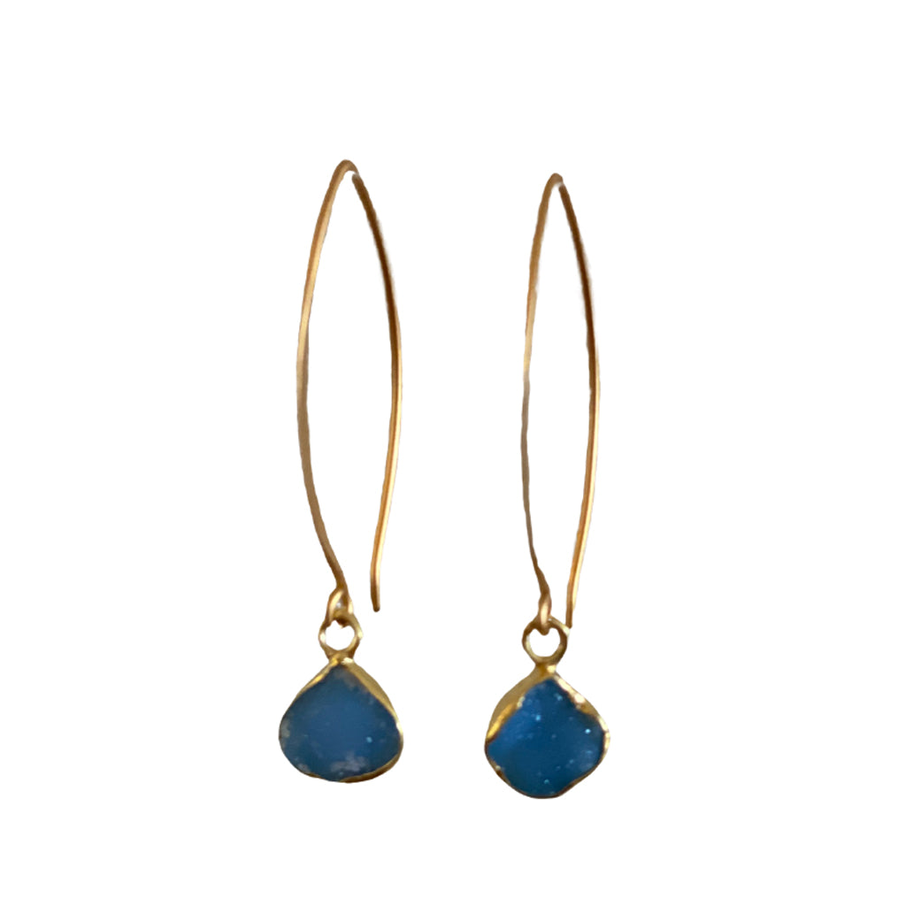 Sisters Tear Drop Druzy Earrings - Cornflower