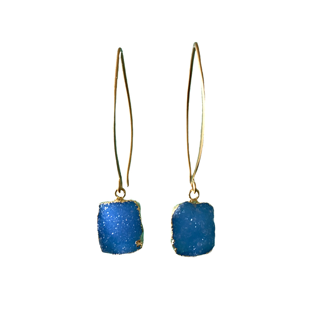 Sisters Rectangle Druzy Earrings - Cornflower