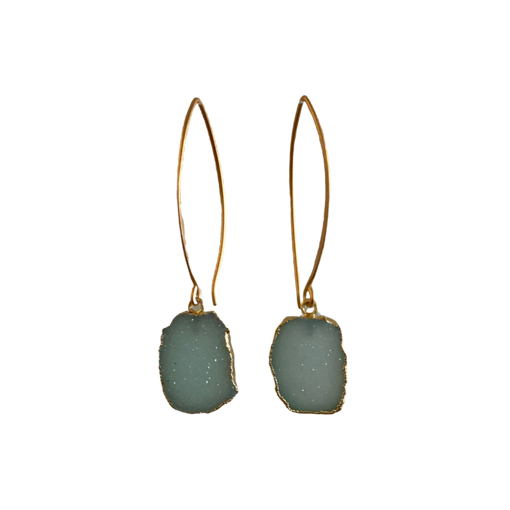Sisters Rectangle Druzy Earrings - Lake