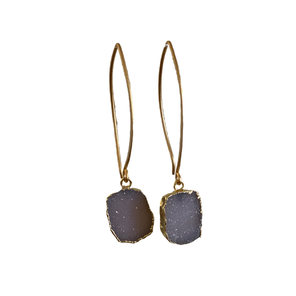 Sisters Rectangle Druzy Earrings - Light Violet