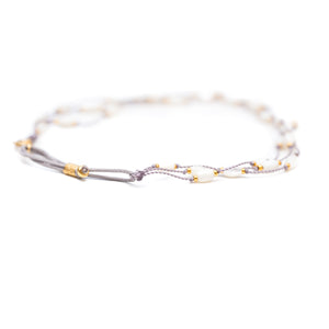 Our stretch Halo Mother of Pearl anklet is fun, durable and a Bronwen Jewelry favorite. Jewelry for an active lifestyle.