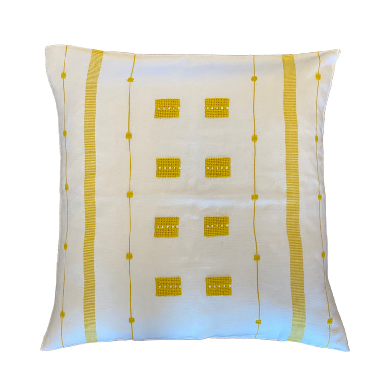 Sunshine Embroidered Cotton Pillow White - 20""