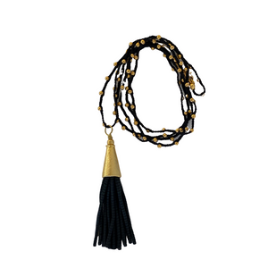 Beaded Tassel Necklace - Black