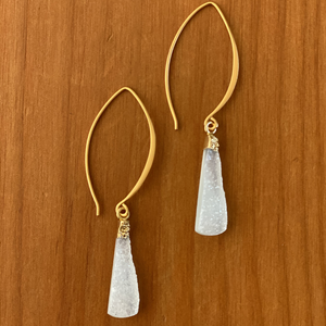 Sisters Triangle Druzy Earrings - Lake