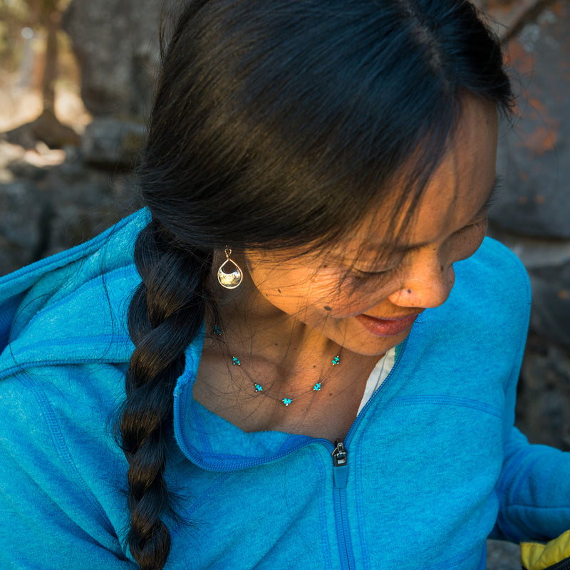 Our Trail necklaces are water worthy, durable, and a Bronwen Jewelry favorite. Beautiful jewelry for an active lifestyle.