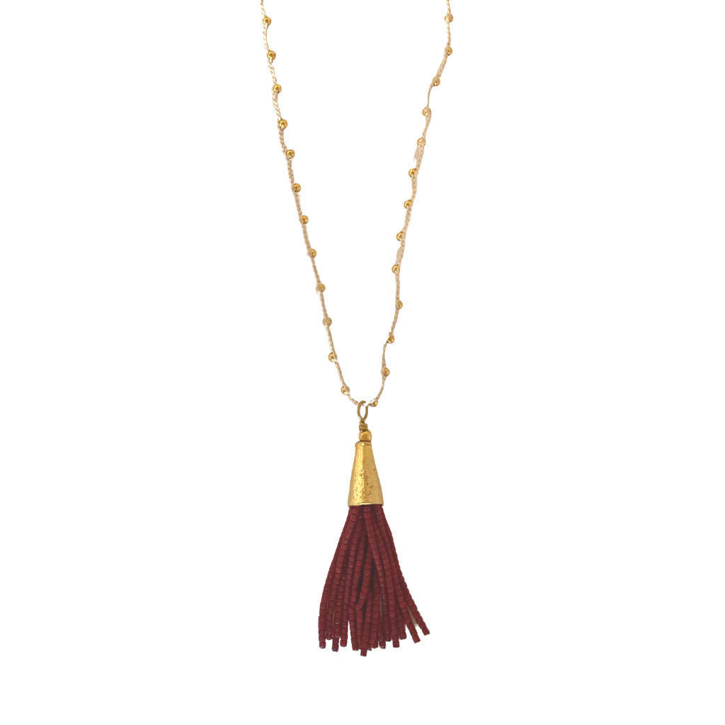 Beaded Tassel Necklace - Red