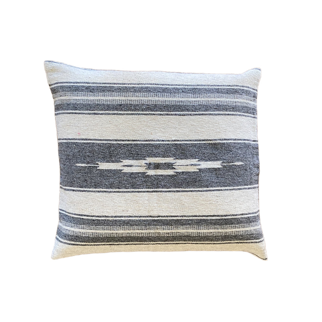 Mexican Wool Pillow - Grey Arrow 18""