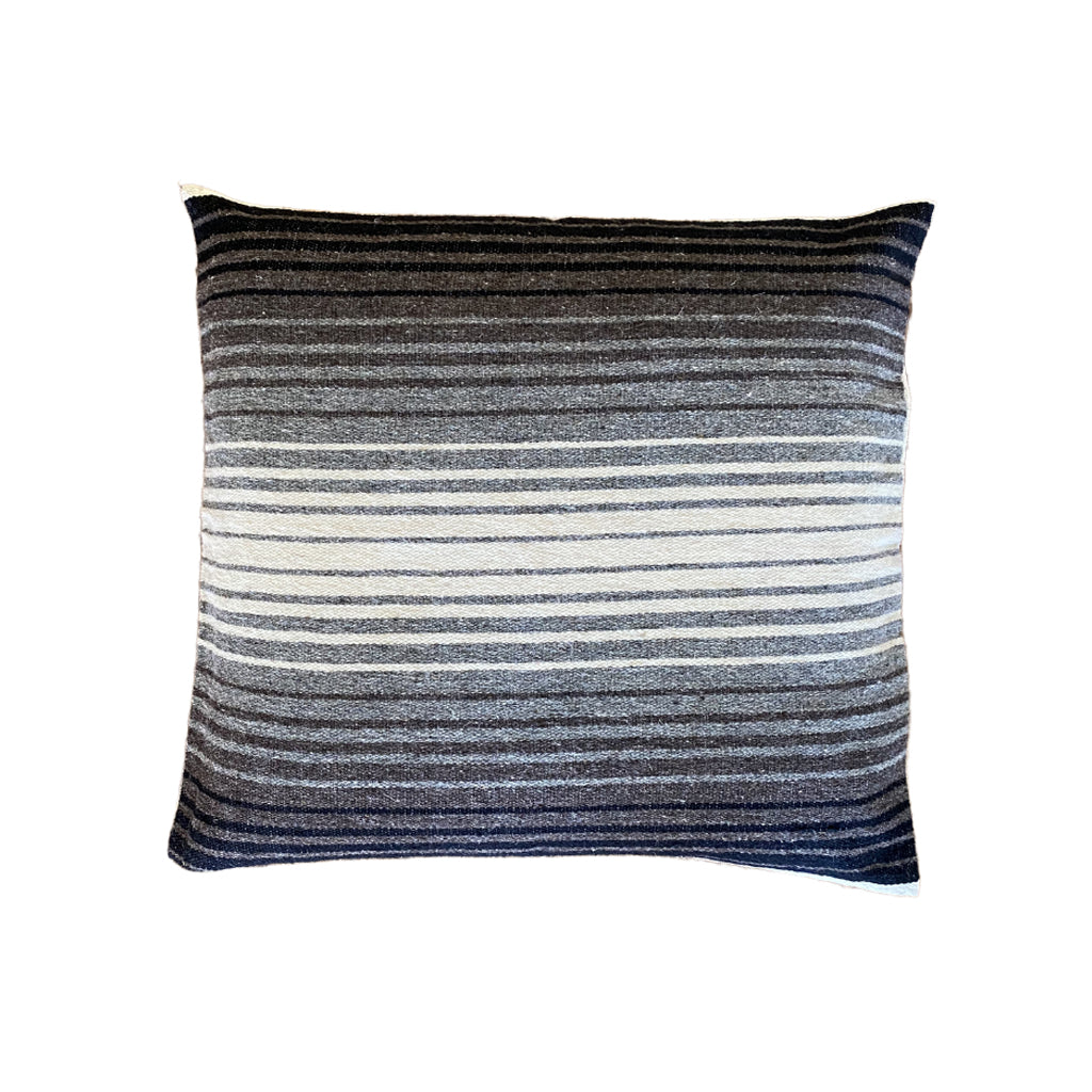 Mexican Wool Pillow - Brown & Grey Stripes 18""