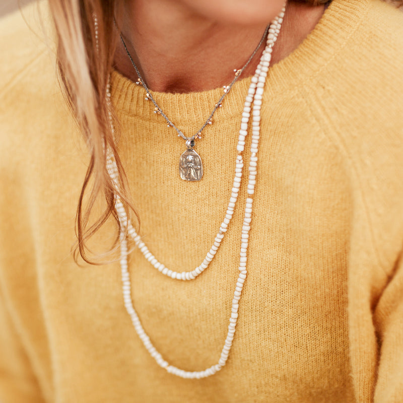Abundance mixed metal necklace by Bronwen Jewelry can run, swim or do yoga with you, all while adding elegance to your look