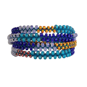 African Trade Bead wrap bracelet is adjustable, colorful and durable. A Bronwen Jewelry staple for your active lifestyle