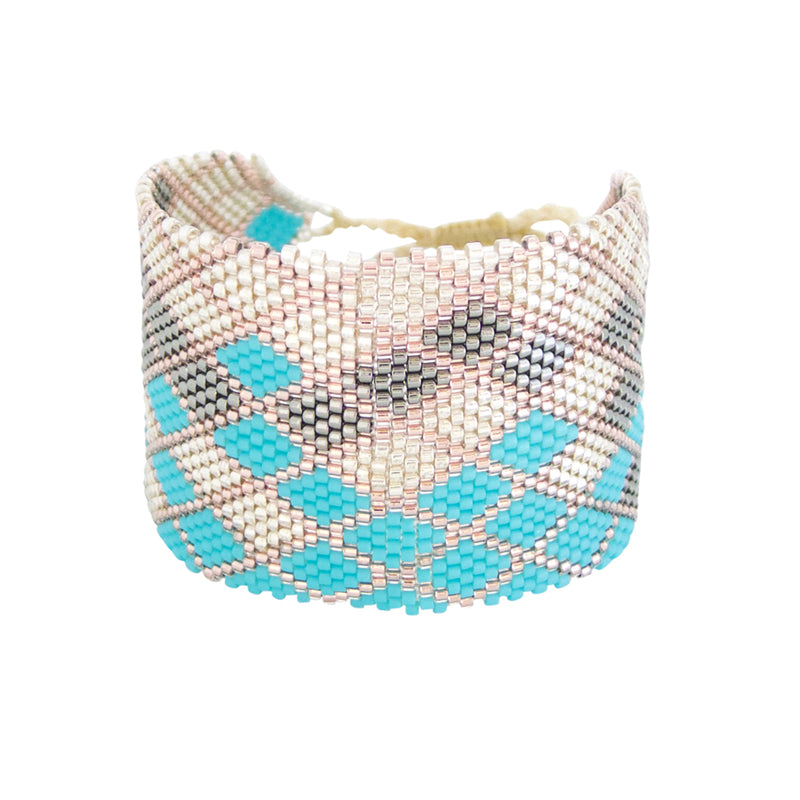 Our Mosaic Cuff is a Bronwen Jewelry beaded beauty. Elegant, adjustable and artisan made in Columbia