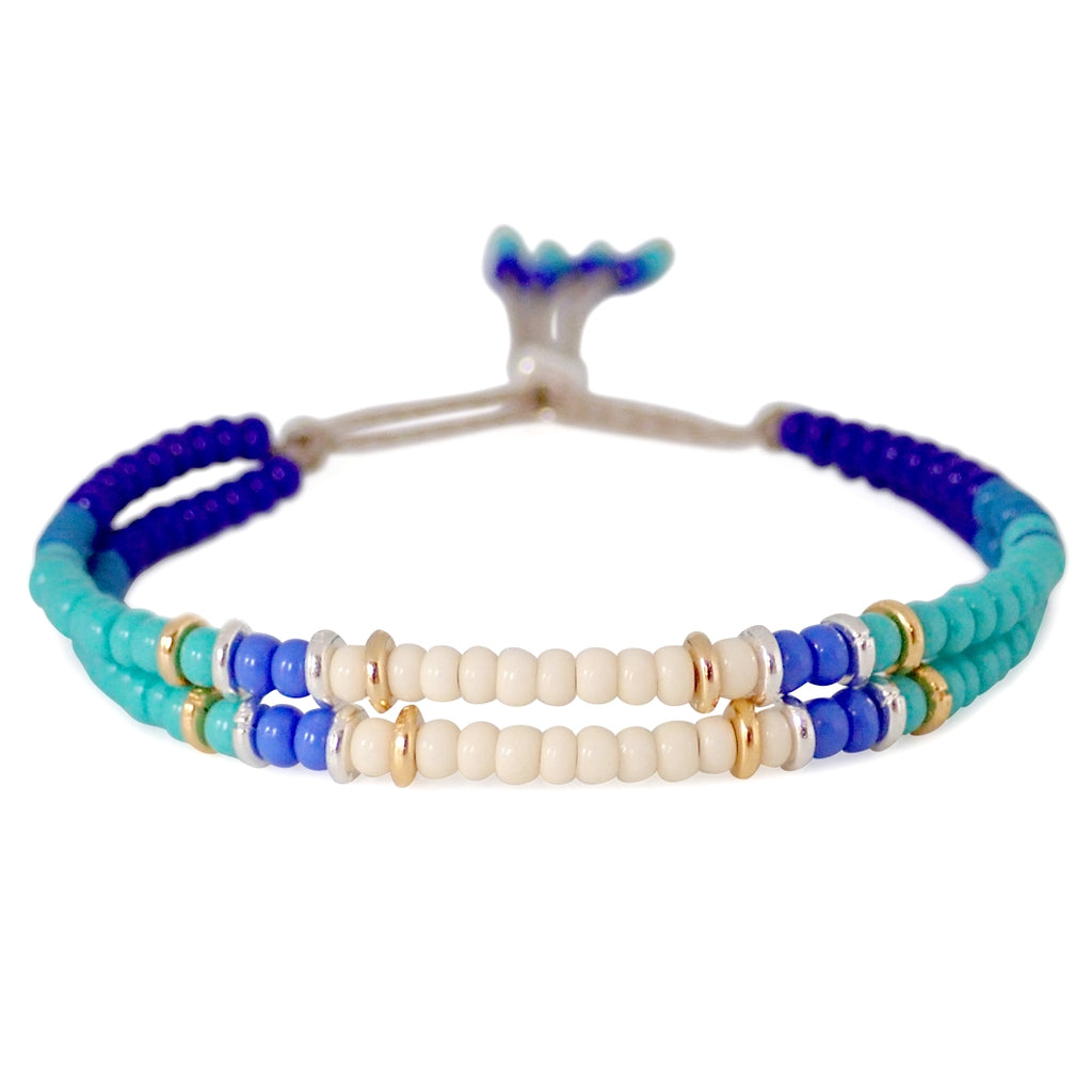 Condesa bracelets are ready for action, colorful and durable, these are a Bronwen Jewelry staple for your active life.
