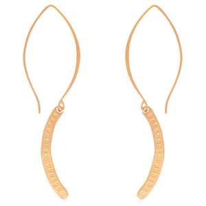 Delicate Arch earrings are decorated by hand. Long or short, silver or gold, these are a Bronwen Jewelry favorite