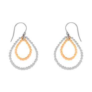 Double Sun Disc Hoop earrings are a Bronwen Jewelry gem. Long or short, silver and gold, they are perfect for any activity